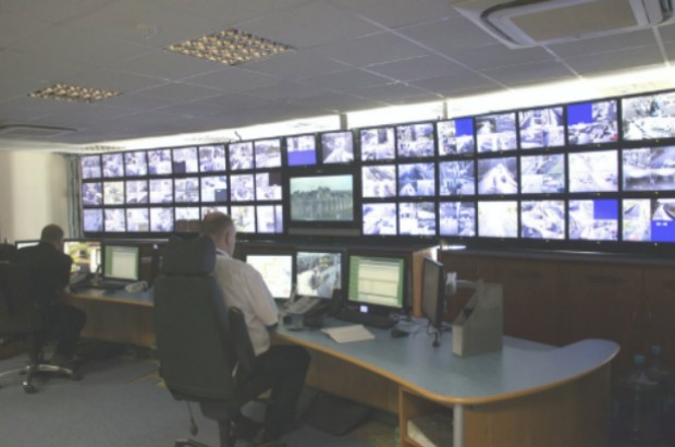 CCTV Control Room with a wall of CCTV monitors