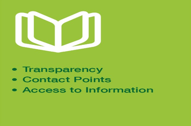 Graphic of a book with the bullet points 'Transparency, Contact points, Access to information'