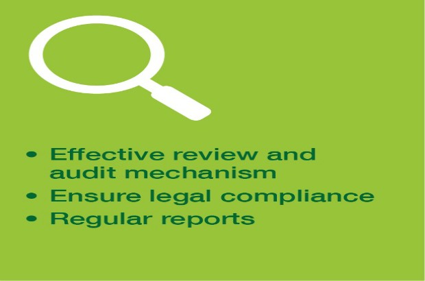 Graphic of a magnifying glass with the bullet points 'Effective review and audit mechanism, Ensure legal compliance, Regular reports'