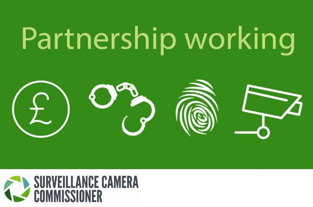 Graphic with images of money, handcuffs, finger print and CCTV camera with the words 'partnership working'