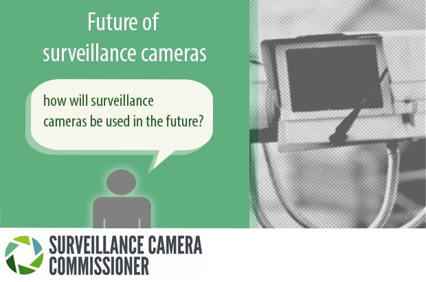 Graphic of a CCTV camera with the words - how will surveillance cameras be used in the future