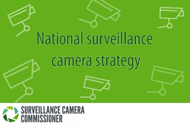 Infographic of CCTV cameras with the words National Surveillance Camera Strategy