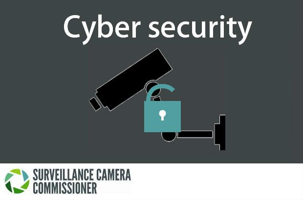 CCTV camera and padlock image saying 'cyber security'
