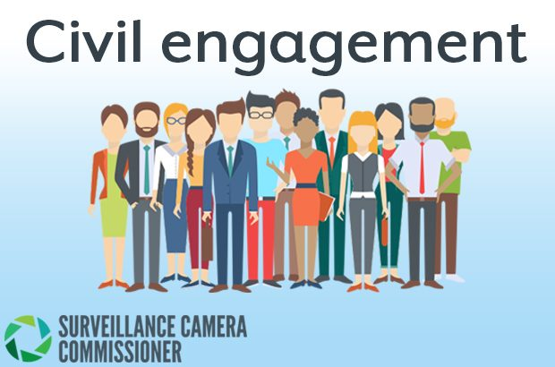 Graphic of a group of people with the words - Civil Engagement