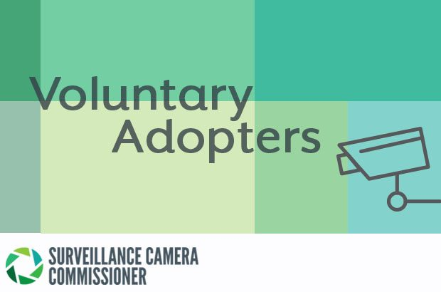 A graphic of a CCTV camera with the words voluntary adopters