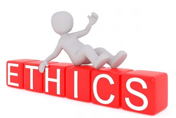 Graphic with the word 'ethics' on it